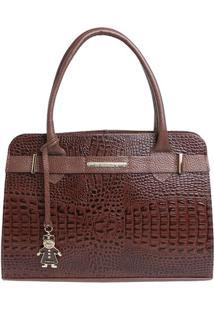 Bolsa De Mão Em Couro Com Bag Charm - Marrom - 36X23Di Marlys
