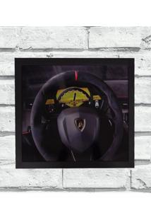 Quadro Decorativo Metal Volante Lamborghini Cor Preto 40X50 - Amarelo - Dafiti