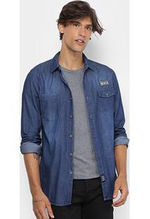 Camisa Jeans Broken Rules Clássica Stone Masculina - Masculino