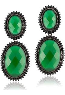 Brinco Giullia Ferraz Store Oval Negro Feminino - Feminino-Verde+Preto