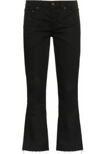 Saint Laurent Calça Jeans Flare Cropped - Preto