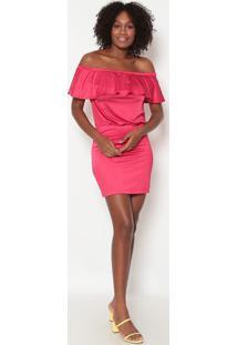 Vestido Ciganinha Com Babado- Pink- Tritontriton