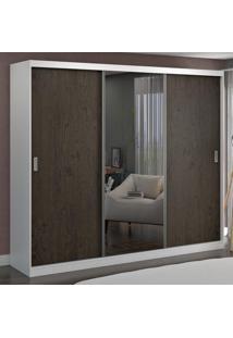 Guarda-Roupa Casal 3 Portas Com 1 Espelho 100% Mdf 1905E1 Branco/Málaga - Foscarini