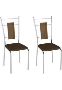 Conjunto Com 2 Cadeiras Caspian Cacau E Cromado