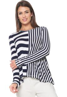 5bd97b0261715 ... Blusa Calvin Klein Jogo De Listra Azul-Marinho Branca