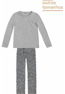 6b04d78facd5bb Pijama Feminino Em Malha Com Calça Estampada Em Outros Tamanhos