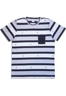 Camiseta Homem Ao Mar Âncora Branca/Azul Marinho