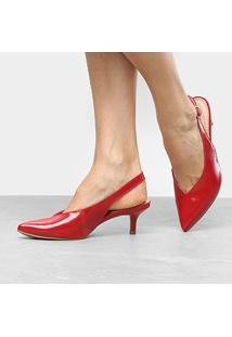 Scarpin Dakota Salto Médio Chanel Follow - Feminino-Vermelho