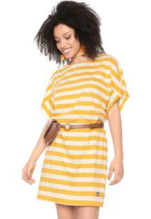 Vestido Cantão Curto Listrado Amarelo