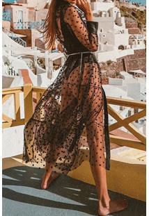 Vestido Transparente Midi De Tule Poá
