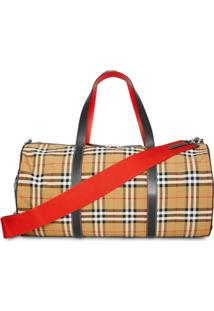 Burberry Large Vintage Check And Leather Barrel Bag - Marrom