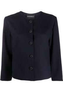 Emporio Armani Blusa Com Abotoamento Frontal - Azul