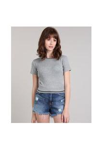 Blusa Feminina Cropped Com Lurex Manga Curta Decote Redondo Cinza Mescla Claro
