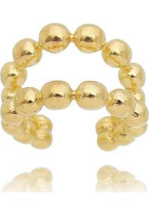 Brinco Piercing Fake Drusi Argola Dupla De Bolinhas Dourada