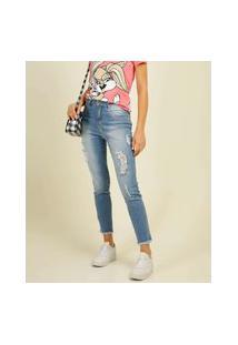 Calça Jeans Destroyed Feminina Cigarrete Biotipo