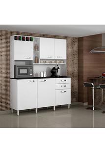 Armário De Cozinha 6 Portas Topázio Sallêto Móveis Branco