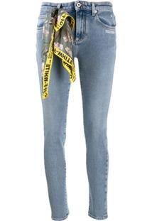 Off-White Calça Jeans Skinny Com Detalhe De Lenço - Azul