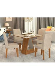 Conjunto De Mesa De Jantar Quadrada Alana Com 4 Cadeiras Milena Suede Bege E Off White