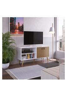 Rack Para Tv Retrô Genialflex 2 Portas Âmbar E Branco Fosco