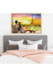 Quadro Love Decor Com Moldura Amour Parisien Madeira Clara - Médio