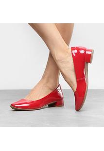 Scarpin Mississipi Salto Baixo Bico Redondo - Feminino-Vermelho