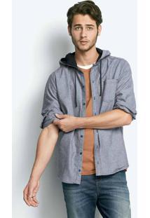 Camisa Masculina Regular Em Tecido De Algodão Com Capuz