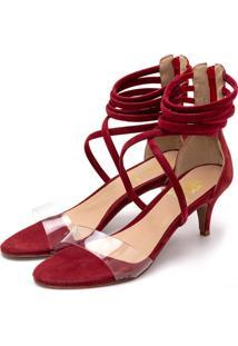 Sandália Salto Alto Meia Cana Em Nobucado Vermelho Com Transparência - Tricae