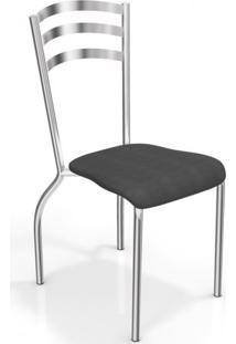 Conjunto De Mesa Tampo Vidro Volga Com 4 Cadeiras Portugal Crome Kappesberg Cromado/Preto
