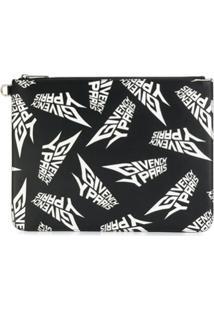 Givenchy Clutch Estampada Com Logo - Preto