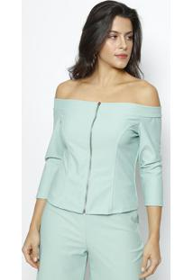 Blusa Ombro A Ombro Com Zíper - Verde Claro- Moiselemoisele