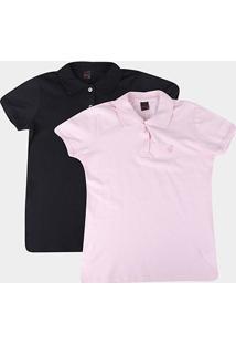 Kit 2 Camisas Polo Básicos Lisa Feminina - Feminino-Preto+Rosa
