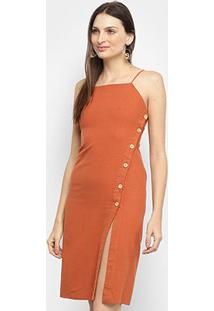 Vestido Farm Botões Lateral - Feminino-Laranja