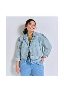 Jaqueta Cropped Em Jeans Delavê Curve & Plus Size | Ashua Curve E Plus Size | Azul | G