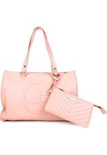 Bolsa Couro Jorge Bischoff Shopper + Mini Bag Feminina - Feminino-Nude