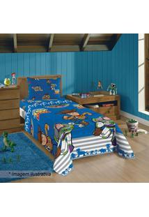 Jogo De Cama Toy Storyâ® Solteiro- Azul & Cinza- 3Pã§Slepper