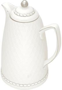 Garrafa Térmica De Porcelana Wolff Branco E Prata 28Cm – 900Ml