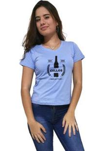 Camiseta Gola V Cellos Drink Premium Feminina - Feminino-Azul Claro