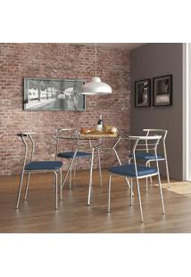 Mesa 1527 Vidro Incolor Cromada Com 4 Cadeiras 1708 Cromada Azul Noturno Carraro