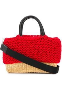 Muun Bolsa Tote De Tricô - Vermelho