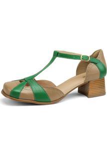 Sandália Sapatofran Retro Vintage Taupe E Verde