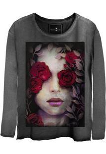 Camiseta Estonada Gola Canoa Manga Longa Girl Roses