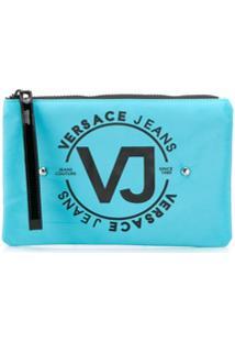 Versace Jeans Necessaire Com Tachas E Logo - Azul