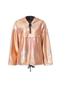Jaqueta Feminina Metalizada Com Capuz - Rosa