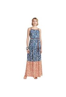 Vestido Maria Valentina Longo Decote Quadrado Com Cinto Azul