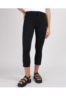 Calça De Sarja Feminina Sawary Skinny Com Botões Cintura Alta Preta