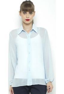 Camisa Fernanda Almeida Chiffon - Feminino-Azul