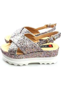 Anabela Love Shoes Alta Flat Form Tratorada Tiras Cruzada X Glitter Frutacor