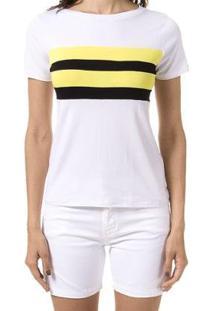 Blusa Bloom Color Block - Feminino-Branco