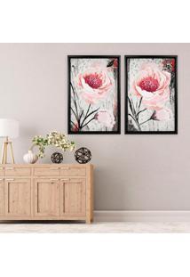 Quadro Com Moldura Chanfrada Floral Rosa Preto - Grande - Multicolorido - Dafiti