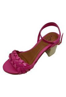 Sandália Trançada Salto Quadrado Baixo Confortável Grosso Miss Confort Pink